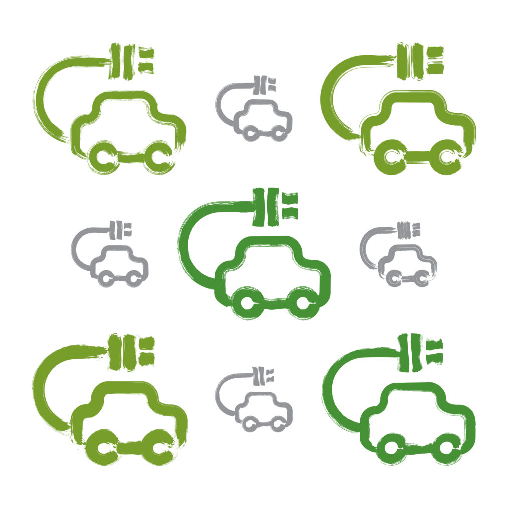 Set of hand-drawn green eco car icons, collection of illustrated brush drawing electric powered cars, hand-painted ecology automobiles isolated on white background.