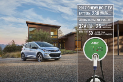 Publicity photo shows Aerovironment's home charging station for Chevy Bolt.
