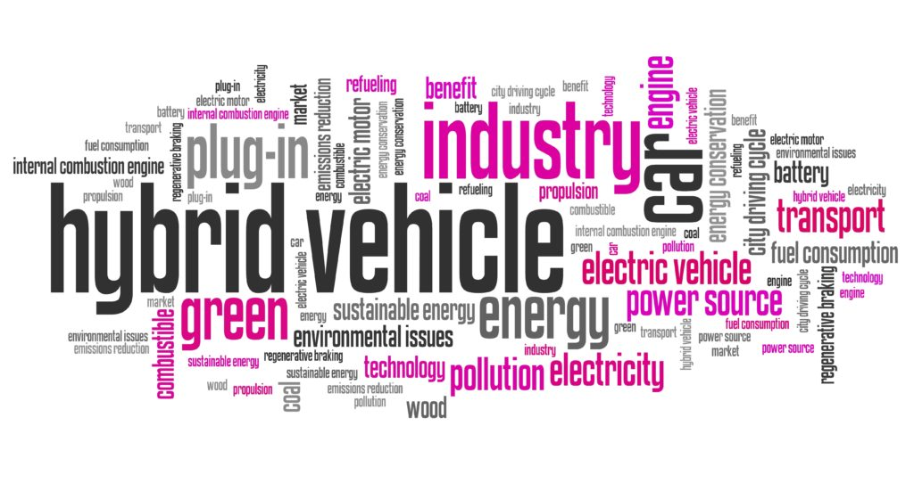 Hybrid vehicle - transportation issues and concepts tag cloud illustration. Word cloud collage concept.