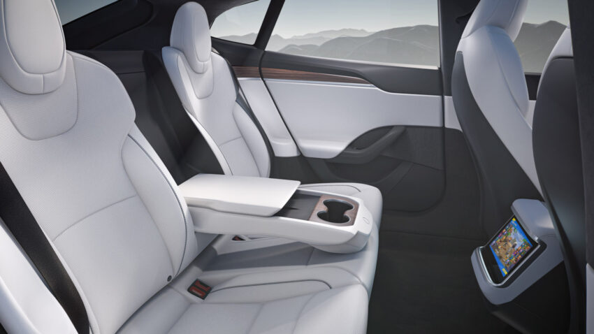 Tesla interiors, rear view.