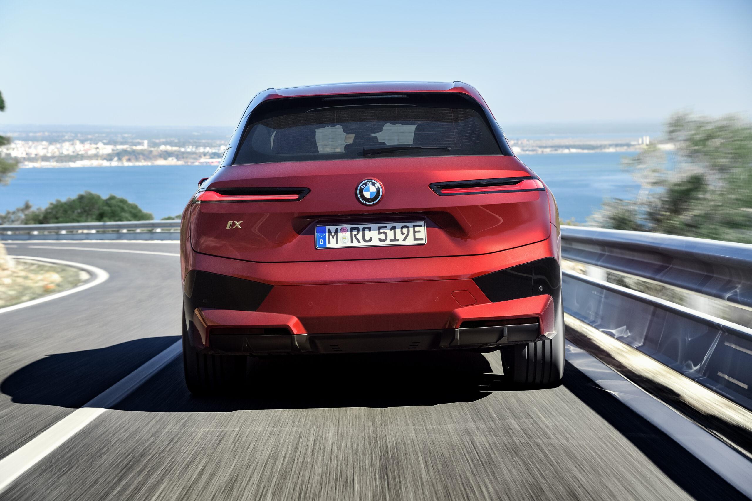 BMW iX rear view.