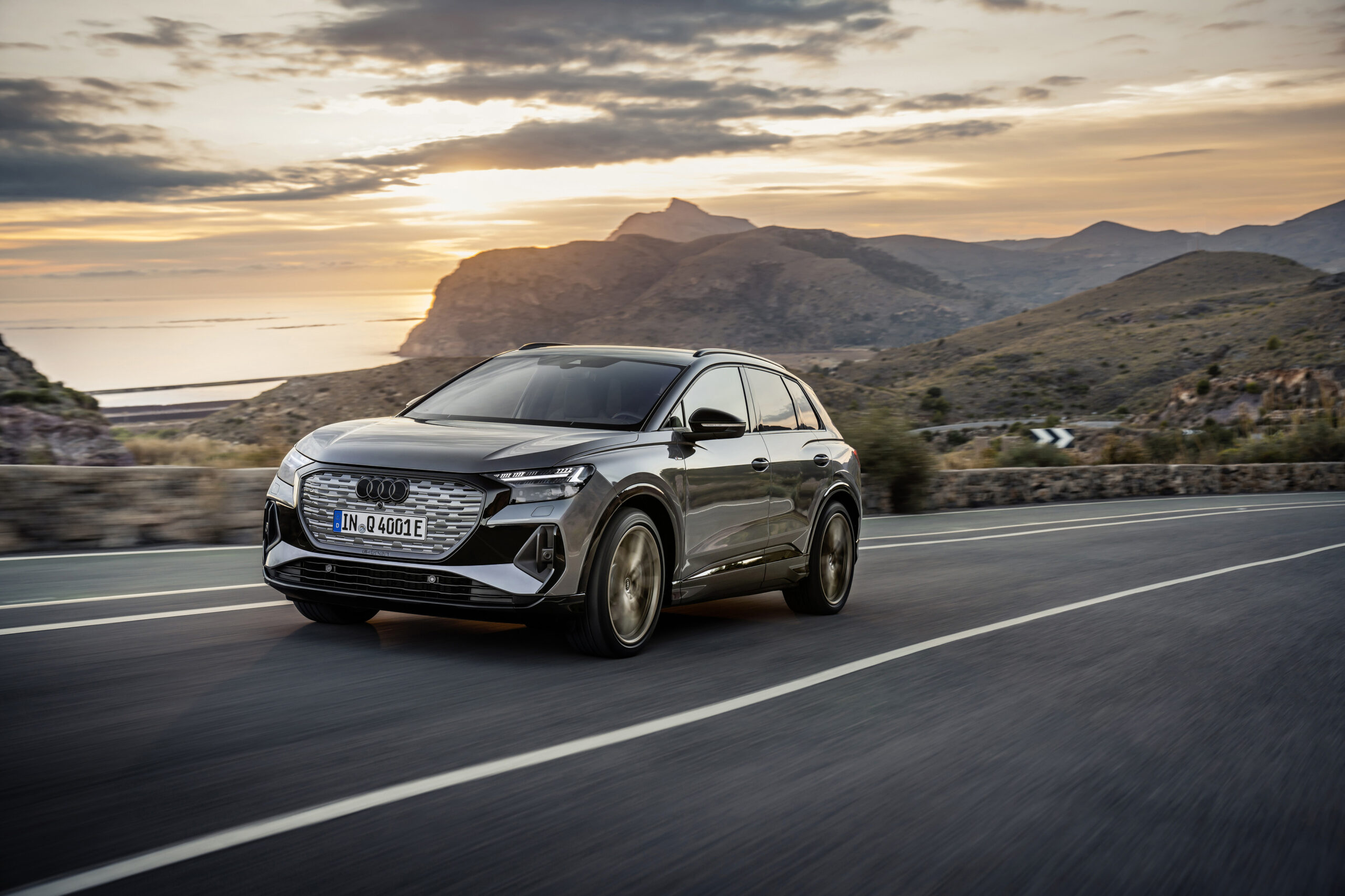 Audi's Q4 e-tron crossover in action.