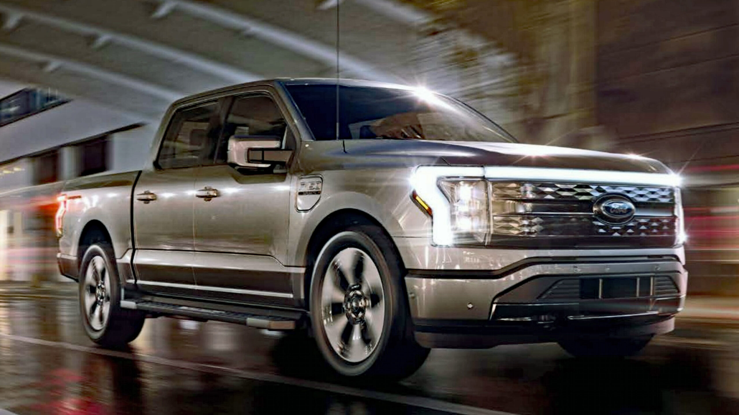 Electric F-150 Lightning on the road.