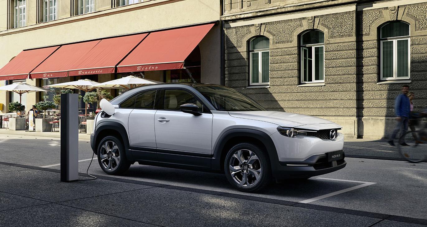 2022 Mazda MX-30 EV, at charger.